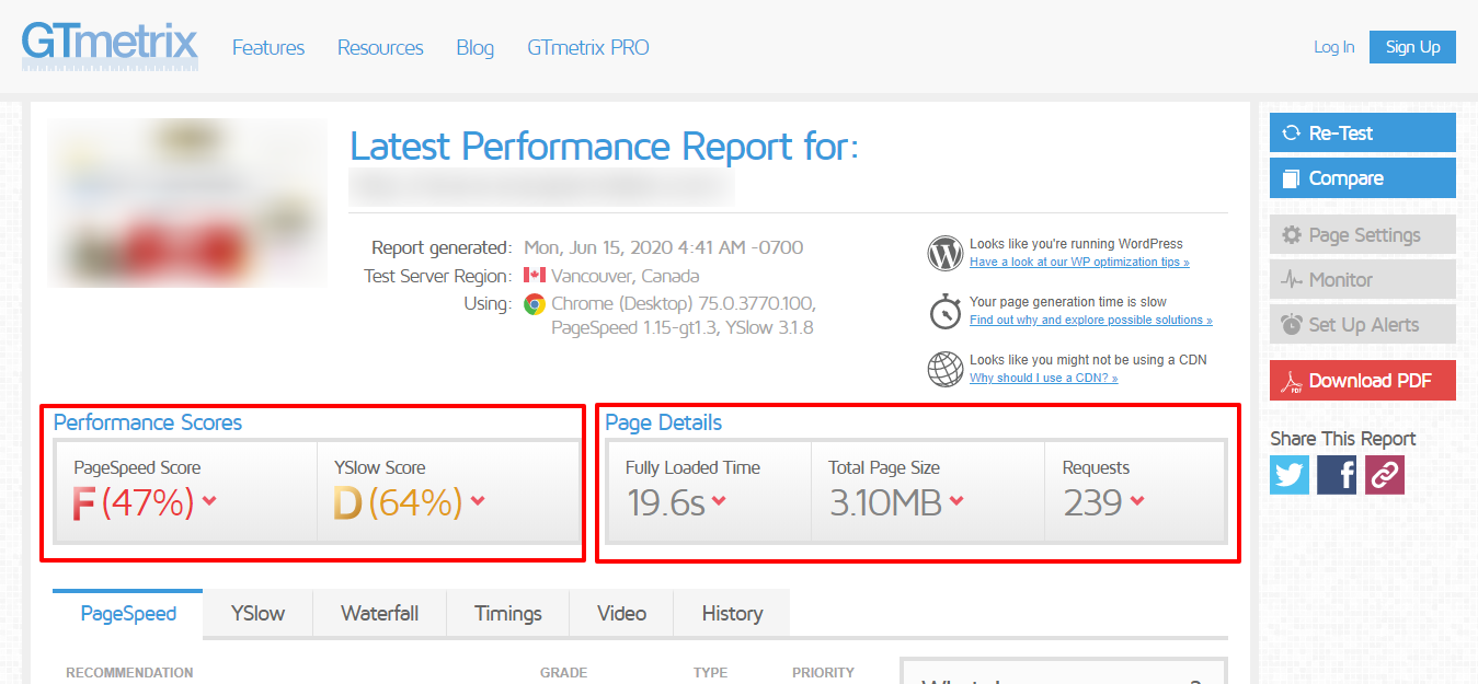 webpage speed performance report